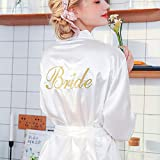 YRTHOR Frauen Seide Kimono Satin Bademantel, knielange Brautjungfer Feste Bademantel Plus Size Brautkleid für Hochzeit Nachtwäsche,Weiß,XL