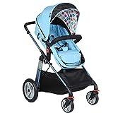 YL Kinderwagen Adjustable, Hoch Landschaft R, Travel System, Kompakte Und Leichte Sportkinderwagen, Recline-Baby-Buggy for Flugzeug-Ultra-Leicht-Baby-Trolley (Color : Blue)