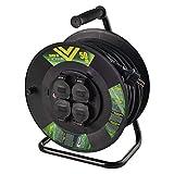 EMOS P08250 Profi-Kabeltrommel, 50m Kabel mit 4 Schuko Steckdosen, 1,5 mm2 Gummi, IP44, für Außenbereich, 50 Meter