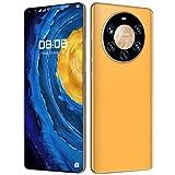 WYCF Mate40 Pro Smartphone Ohne Vertrag Günstig, 7,3 Zoll HD Bildschirm, Android 10.0, 6GB RAM + 128GB ROM, 24MP+48MP Kamera, 5000mAh Akku, Dual SIM Handy,Gelb