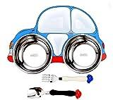 LMMJYF Kinder Teller 304 Edelstahl Cartoon Trennplatte Anti-Drop-Platte abnehmbare und waschbare Teller-Dreiteiliges blaues Auto