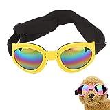 pzcvo Hunde Sonnenbrille Hundesonnenbrille UV-Brille für Hund Schutzbrille wasserdichte Hundebrille Faltbare Hundesonnenbrille Welpen Sonnenbrille Yellow
