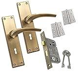 Innentürgriff auf Rückplatte Set Schloss Scharnier Pack antik passend für alle Arten von Holztüren 203 x 50 mm Rückplatte 22SL55KYANT