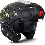"Moto Helmets® F19 ""Runner Camo"" · Motorrad-Helm · Klapp-Helm Modular-Helm Flip-up Integral-Helm Motorrad-Helm Roller-Helm Sport · ECE 22.05 Sonnenvisier Schnellverschluss Tasche L (59-60cm)"