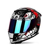 FREEUP Motorrad Integral Helm Motorradhelm Herren Fullface Sturzhelm Motorrad Helm Roller Helm Scooter, Inkl. Mehrfarbig Verspiegeltem Visier,Rot,XL