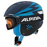 Alpina Sports Unisex Jugend Carat Set Skihelm, Nightblue, 51-55