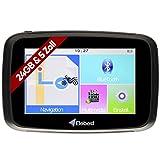 Elebest Rider W5 Navigationsgerät 5 Zoll (12,7 cm) Touchscreen,Motorrad,PKW,Bluetooth,Wasserdicht,Neuste Europa Karten Radarwarner,24GB Speicher,Blitzerwarnung, Inkl Halterung …