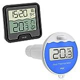 TFA Dostmann 30.3066 Funk Poolthermometer Marbella Schwimmbadthermometer, schwarz mit Batterien