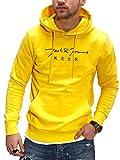 JACK & JONES Herren Hoodie Kapuzenpullover mit Print Sweatshirt Hoody Pullover (XL, Vibrant Yellow)