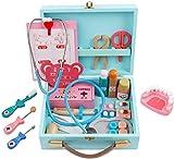 MKABL Arztkoffer Holz Kinder, 35 Stücke Emulational Medizinisches Spielzeug für Kinder