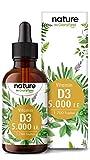 Vitamin D3 - Laborgeprüfte 5000 I.E. pro Tropfen - 50ml (1700 Tropfen) - Höchste Stabilität: Premium Lanolin in MCT-Öl aus Kokos - Hochdosiert, Flüssig Ohne Zusätze in Deutschland hergestellt