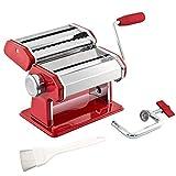 bremermann Nudelmaschine Edelstahl - für Spaghetti, Pasta und Lasagne (7 Stufen), Pastamaschine, Pastamaker (Rot)