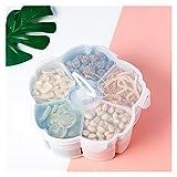 WWWL Snack Tablett Snack-Tablett Lagerhalter Tray Geschirr Spezialplatten Nordische Blume Rotierende Klassifizierung Candy Box (Color : Blue)