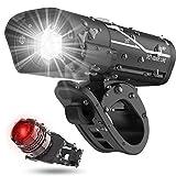 AIJIANG USB Wiederaufladbares Fahrrad Frontlicht und Rücklicht Set IPX4 Wasserdicht 4 Beleuchtungsmodi Radfahren Licht Sicherheit Warnlicht