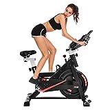 Heimtrainer für den Heimgebrauch, Fitness Fahrrad 6 kg, Spin Bikes mit Rädern, Indoor Hometrainer mit Pad Halter / LCD Display / Herzfrequenzmesser für das Heimtraining, CardioTraining
