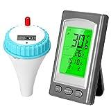 KKmoon Schwimmbad Thermometer Drahtloses Schwimmthermometer Kabellos Wasserthermometer Wasserzähler Wasserdicht Digital Poolthermometer Teich Spa Raumtemperatur-Messgerät mit Alarm LCD-Display
