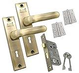 Innentürgriff auf Rückplatte Set Schloss Scharnier Pack antik passend für alle Arten von Holztüren 190 x 43 mm Rückplatte 22SL53KYANT