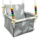 BlueKitty Schaukel für Kinder; Babyschaukel; Kinderschaukel mit Kissen, Schaukel für Haus und Garten; Babyschaukel, Stoffschaukel, Kleinkindschaukel, Innenschaukel, Verandaschaukel, Holzschaukel