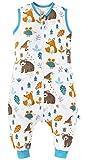 Chilsuessy Baby Schlafsack Sommer mit Füßen 0.5 Tog 100% Baumwolle Kinder Sommerschlafsack für Jungen und Mädchen, Waldtiere, 100cm/Baby Höhe 110-120cm
