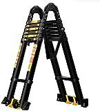AIAIⓇ Teleskopleitern, Klappleiter Aluminiumlegierung Technische Leiter Hebetreppe Fischgrätenleiter, Tragbare Verdickung Dachbodenleiter im Freien (Größe: 1,7 + 1,7 = gerade 3,4 m (11,1 ft))