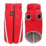 iWUNTONG Hundekleidung für Winter Haustier Weste Jacke Atmungsaktive, Sonnen- und wasserdichte Outfit-Kühlerjacke mit verstellbarem Reißverschluss für Outdoor-Sport (3XL, Rot)