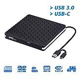Externes DVD-Laufwerk für Laptop, tragbares High-Speed USB C & USB 3.0 CD-Brenner/DVD-Lesegerät für PC-Desktops, kompatibel mit Windows/Mac OSX/Linux (USB C & 3.0)