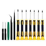 12 Teilig Torx Schraubendreher Set, Mikro Schraubendreher, Torx Schraubendreher Set, Pinzette, Feinmechaniker Schraubendreher Set für Elektronische Geräte, T3 T4 T5 T6 T7 T8 T10