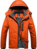 GEMYSE wasserdichte Skijacke für Herren Winddichte Fleece Outdoor-Winterjacke mit Kapuze (Orange,XL)