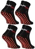 Rainbow Socks - Damen Herren Neon Sneaker Sport Stoppersocken - 4 Paar - Schwarz - Größen 44-46
