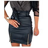 U/A Sexy Damen schwarzer Leder-Bleistiftrock, figurbetonter Rock, Clubwear, doppelter Reißverschluss, hohe Taille, Mini-Rock, Gürtel, Schwarz / Weiß / Khaki Rock Gr. 36, Schwarz