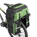 FASPUP 3-in-1 Fahrradtasche mit wasserdichter Abdeckung und reflektierenden Streifen für Handtasche, Fahrrad Hintertasche Radfahren Hintere Kofferraum und Rucksack Verwendung (Grün)