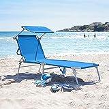 Liegestuhl, Liegestuhl mit Sonnenschutz, für Terrasse, Garten, Camping, Picknick, Strand, Entspannung, Outdoor