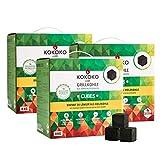 Set: 3 x 8 kg KOKOKO Cubes Premium Grillkohle, 24 kg Bio Kokos Grillbriketts in Würfelform