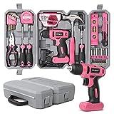 Hi-Spec 57-teiliges Pinkes Heimwerkerset mit 8V Bohrschrauber für Holz und Kunststoffe. Allzweck-Handwerkzeuge für Haushalt & Büro DIY Reparatur & Wartung. Aufbewahrt in einem kompakten Tragekoffer