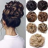 Hair Extensions Haarverlängerung Haarteil Haargummi Hochsteckfrisuren unordentlicher Dutt Gewellt Ombre Mittelbraun