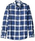 Amazon Essentials Herren-Flanellhemd, schmale Passform, Langarm, kariert, Blue Ombre Plaid, S