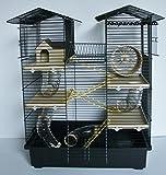 Super Hamsterkäfig, Nagerkäfig, Käfig CH2 in schwarz/beige Gratis Futternapf