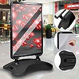 Jago® Kundenstopper DIN A1 Mobil - Alu Rahmen und 2 Folien Doppelseitig, mit Wasser befüllbar, in Schwarz - Plakatständer, Gehwegaufsteller, Werbeaufsteller
