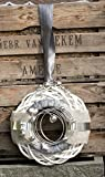 HIKO-EVENTDEKO Doppelkranz Wandkranz Nr.37 Türkranz 30 cm mit Filz grau weiß Silber modern Türdeko