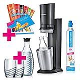 SodaStream Crystal 2.0 Wassersprudler-Set Promopack mit CO2-Zylinder, 2x Glaskaraffen, 2x Trinkgläsern, 6x Sirupproben, titan