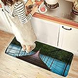 Küchenteppich,Kabelbrücke am Blauen See im Wald,wasserdichte rutschfeste Weiche Waschbare Küchenmatte Komfort Fußmatten Teppiche für Bad Küche Wohnzimmer Besprechungsraum