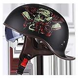 Retro Moto Helm mit Sonnenblende Motorrad Helm mit offenem Gesicht,halber Helm DOT zugelassener Motorradhelm mit offenem Gesicht,Gesichtssicherer Schutzhelm für erwachsene Männer und Frauen,schwarz(
