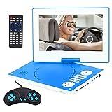 YOOHOO Tragbarer DVD-Player mit Fernbedienung, 26,7 cm (10,5 Zoll), 270° drehbarer Bildschirm, mit 7 Stunden wiederaufladbarem Akku, AC-Adapter (Blau)