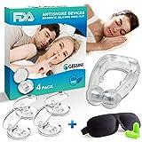 GESSINI Anti-Schnarch Gerät - Magnetischer Silikon-Nasenclip - 4 Stk. - für Männer & Frauen - Schnarchstopper - Nasen-Dilatator - Komfortabler Schlaf - Bessere Atmung + Schlafmaske & Ohrstöpsel