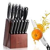 HOMEVER Messerblock Messer Set, Messerblocksets 15-TLG Messerset mit Edelstahlklinge und Ergonomischem Pakkawood-Griff, Extra Scharf Edelstahl Küchenmesser Set mit Holzblock