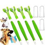 Dreiseitige Haustier Zahnbürste, Haustier-Silikon-Fingerzahnbürste, Haustier Zahnpflege-Zahnbürste zum Reinigen der Zähne und Entfernen von Mundgeruch (7PCS)