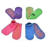 ELUTONG Trampolin Socken für Kinder 4 Paar, Anti-Rutsch-Socken Sport Stoppersocken Rutschfeste Socken mit klebrigen Griffen für Jugendliche Pilates, Ballett, Barfuß-Training