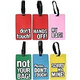com-four® 6 witzige Kofferanhänger aus flexiblem Kunststoff zum beschriften, Gepäckanhänger in verschiedenen Ausführungen (06 Stück - bunt mit Sprüchen eckig)