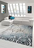 Designer Teppich Moderner Teppich Wollteppich Meliert Wohnzimmer Teppich Wollteppich Ornament Türkis Grau Cream Größe 160x230 cm