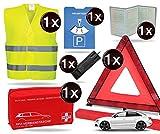 TK Gruppe Timo Klingler 8 in 1 Sicherheit Set 2020 Auto KFZ Warnweste, Warndreieck, Verbandskasten, Parkscheibe, Rettungsdecke, Eiskratzer UVM. - Erste Hilfe bei Unfall (Unfall Set mit Warndreieck)